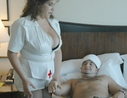 Xratedwife plays nurse riding a dudes hard phallus with her JJ hangers bouncing.